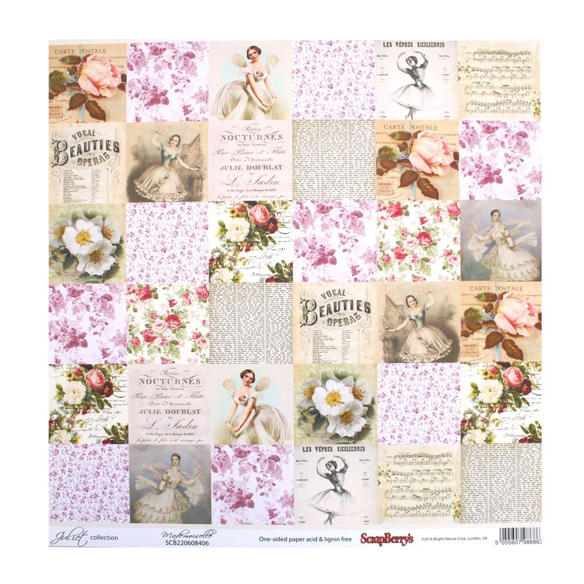 Бумага для скрапбукинга ScrapBerrys Джульетта. Мадемуазель, 30,5 х 30,5 см, 10 листов. 497155497155