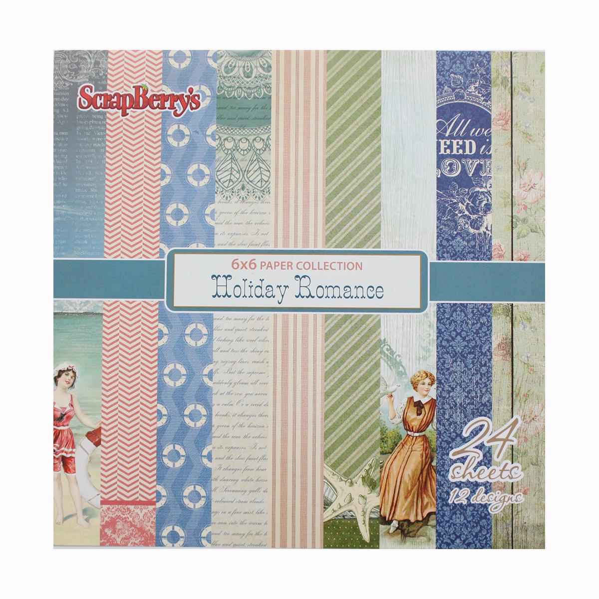 Бумага для скрапбукинга ScrapBerrys Курортный роман, 15 х 15 см, 24 листа. 497157497157