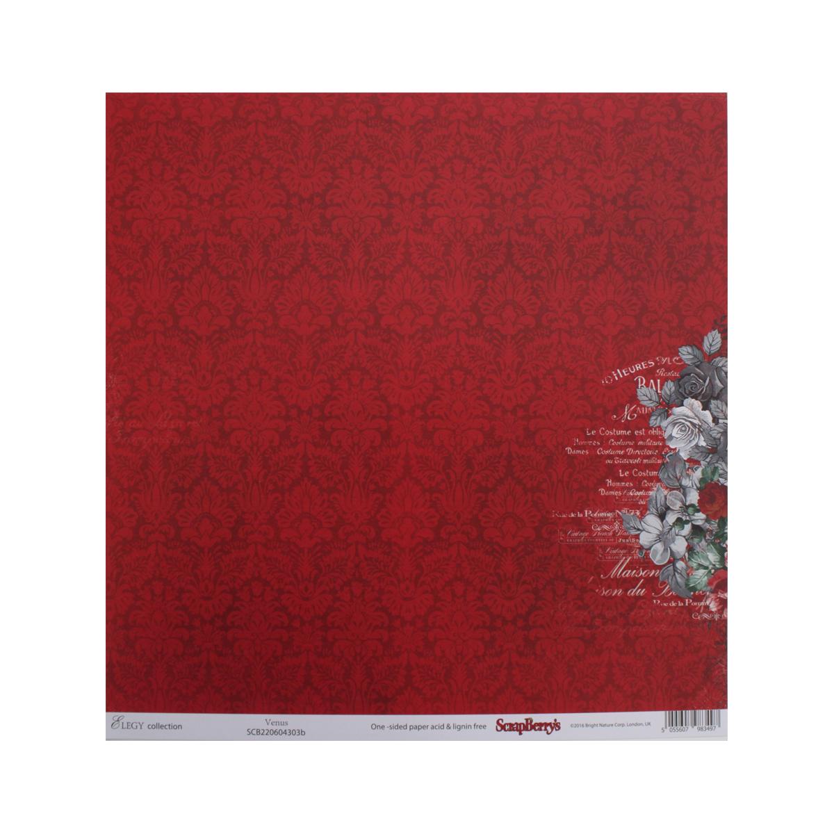 Бумага для скрапбукинга ScrapBerrys Элегия. Венера, 30,5 х 30,5 см, 10 листов. 497444497444