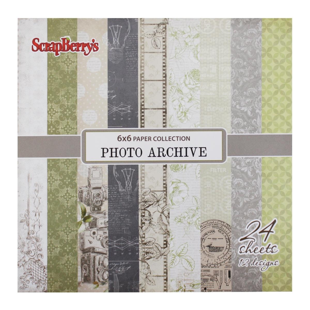 Бумага для скрапбукинга ScrapBerrys Фотоархив, 15 х 15 см, 24 листа. 497453497453