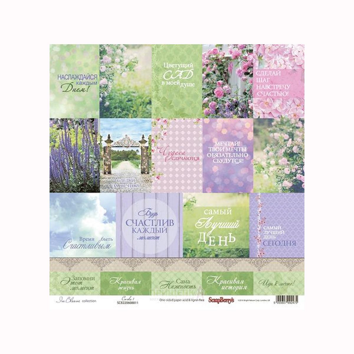Бумага для скрапбукинга ScrapBerrys Цветущий сад, 30,5 х 30,5 см, 12 листов. 497535497535