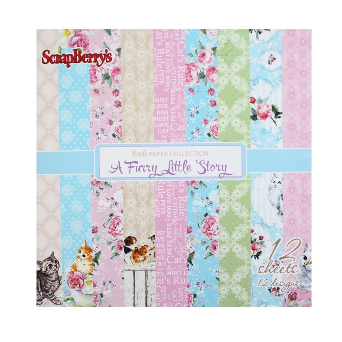Бумага для скрапбукинга ScrapBerrys Шебби. Кошки, 15 х 15 см, 12 листов. 497537497537