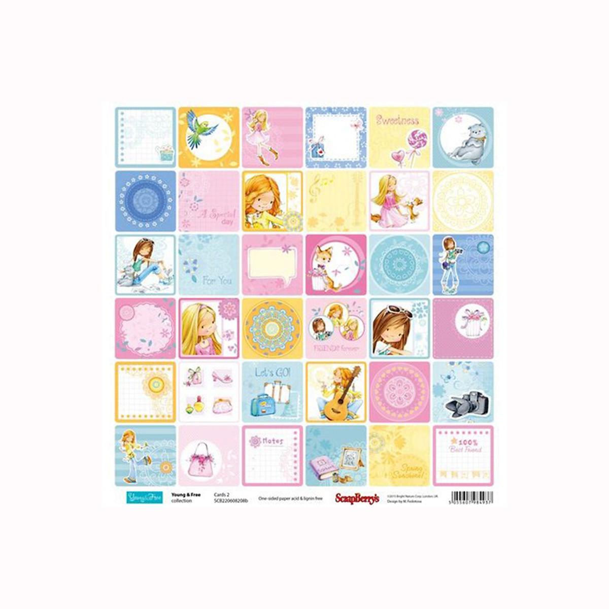 Бумага для скрапбукинга ScrapBerrys Подружки. Карточки 2, 30,5 х 30,5 см, 10 листов. 497688497688