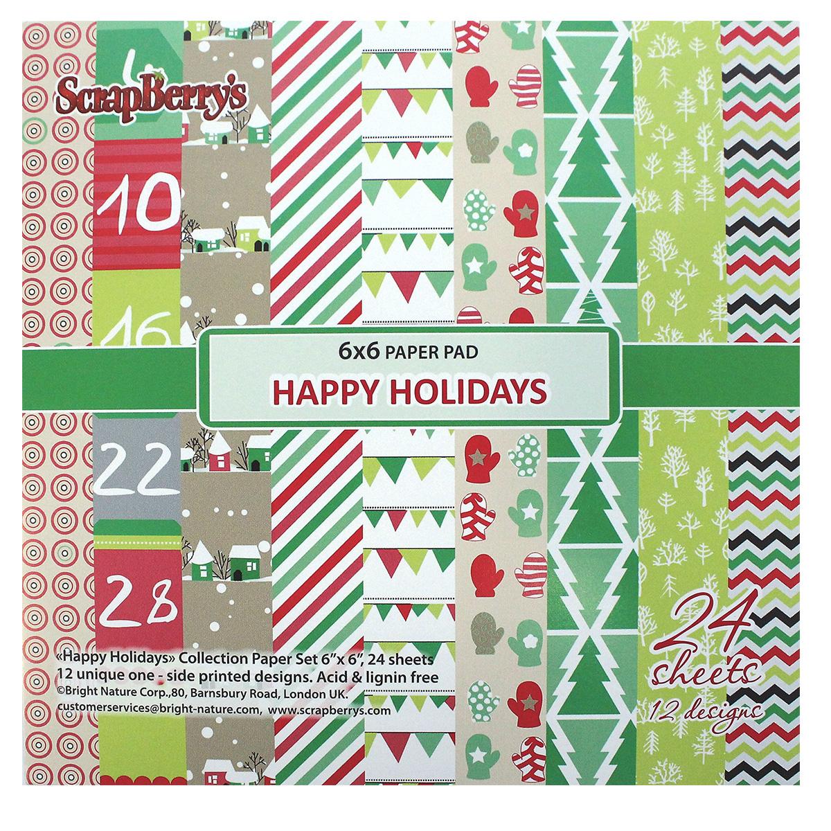 Бумага для скрапбукинга ScrapBerrys Зимние каникулы, 15 х 15 см, 24 листа. 498837498837