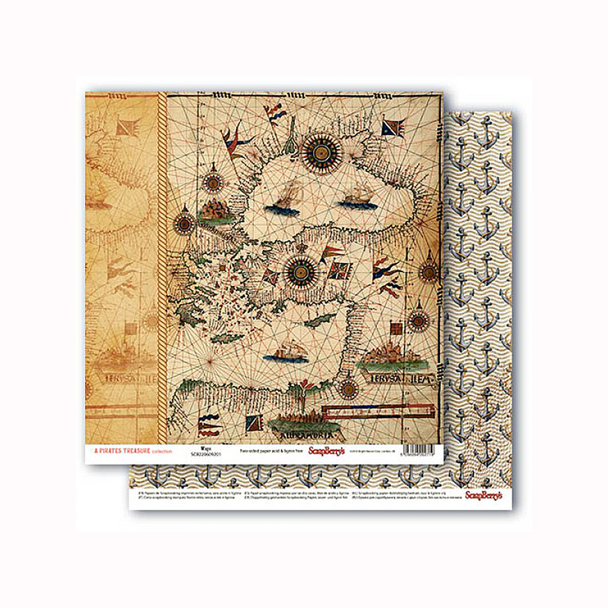 Бумага для скрапбукинга ScrapBerrys Сокровище пиратов, двухсторонняя, 30,5 х 30,5 см. 583314583314
