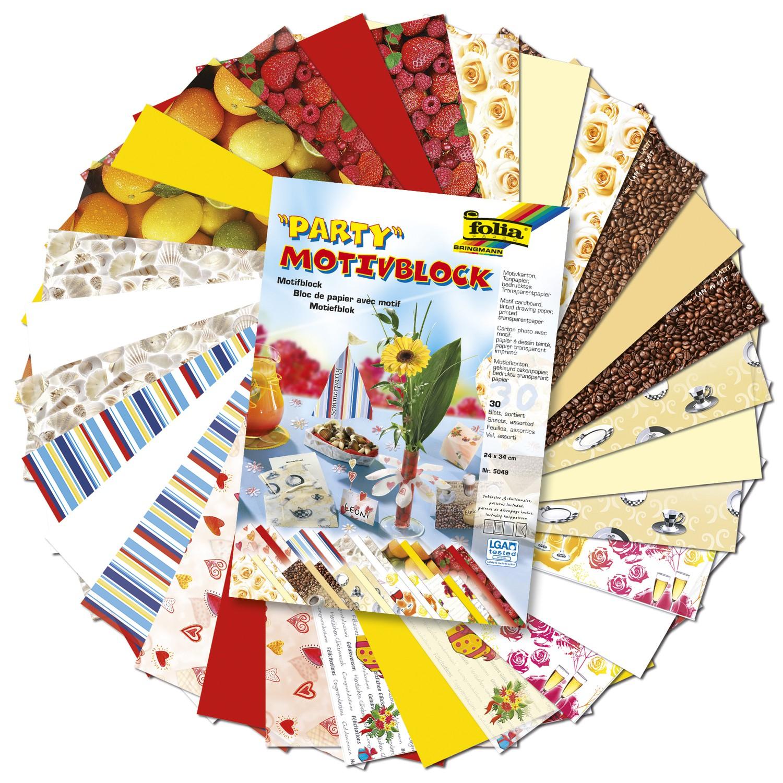 Набор дизайнерского картона Folia  Вечеринка 1 , 24 х 34 см, 30 листов -