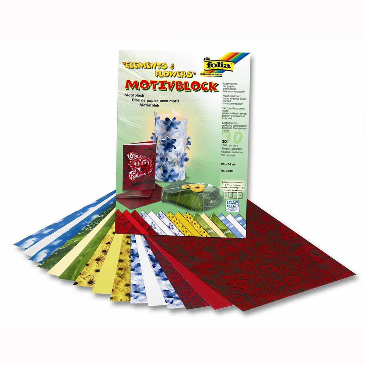 Набор дизайнерского картона Folia  Природа и цветы , 24 х 34 см, 30 листов -