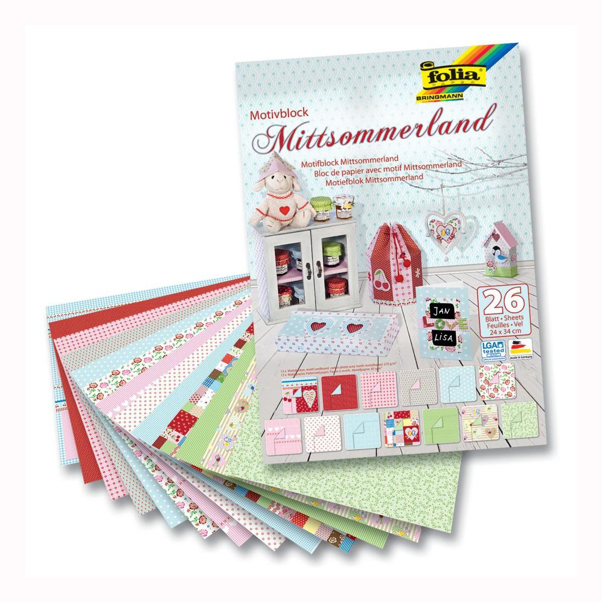 Набор дизайнерского картона Folia  Лето , 24 х 34 см, 26 листов -