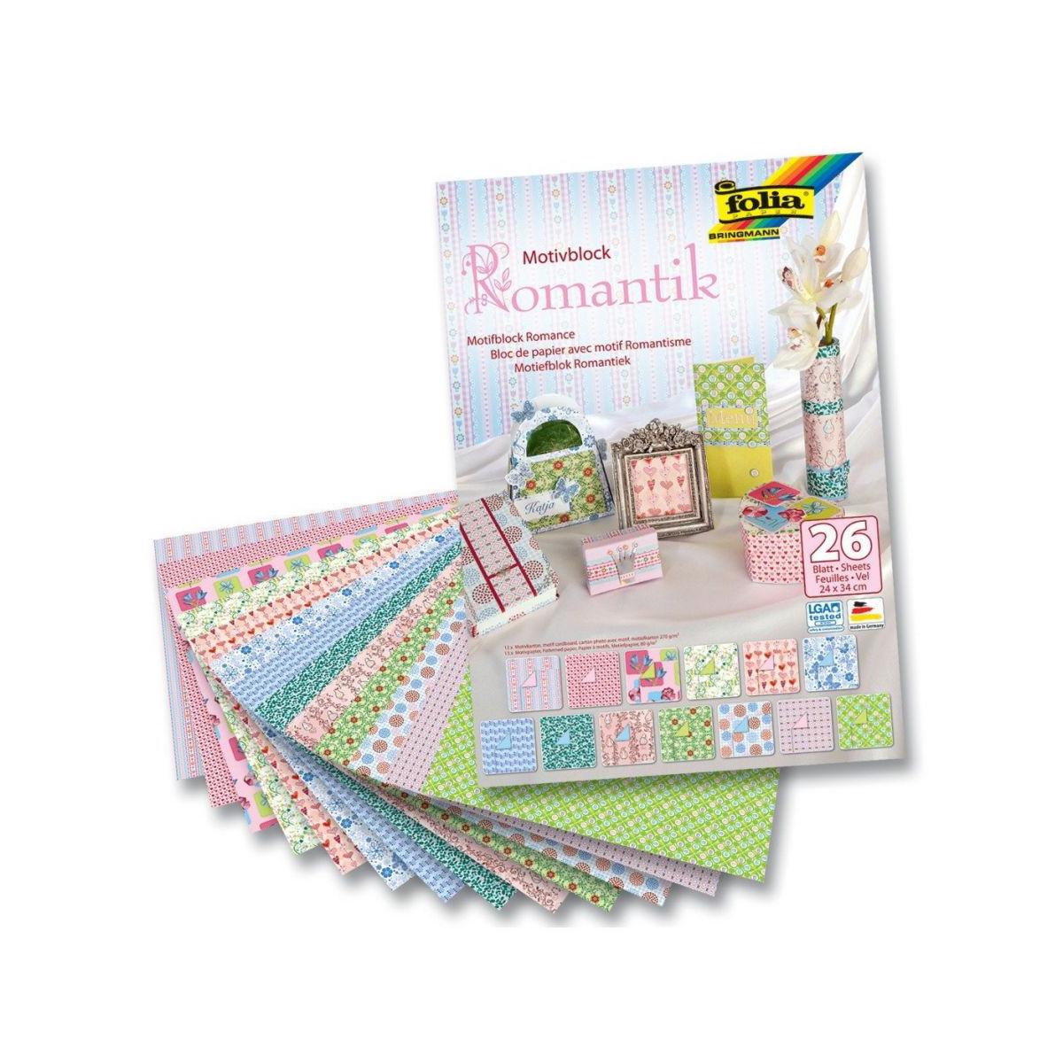 Набор дизайнерского картона Folia  Романтика , 24 х 34 см, 26 листов -