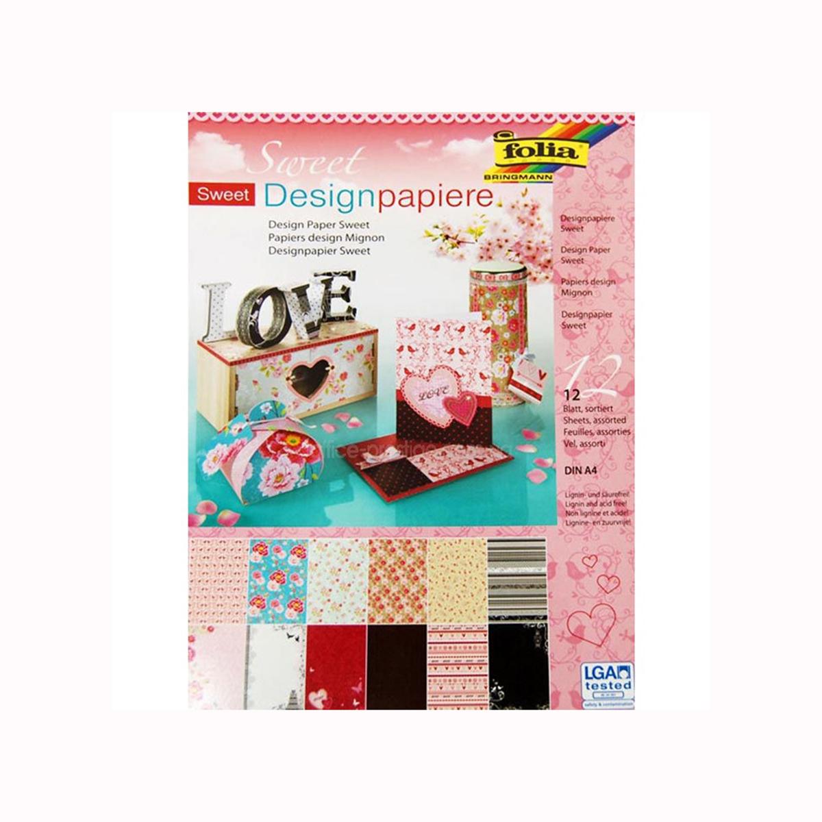 Набор дизайнерского картона Folia  Нежность , 24 х 34 см, 12 листов -