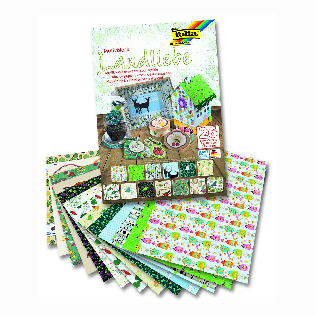 Набор дизайнерского картона Folia  Любовь к природе , 24 х 34 см, 26 листов -