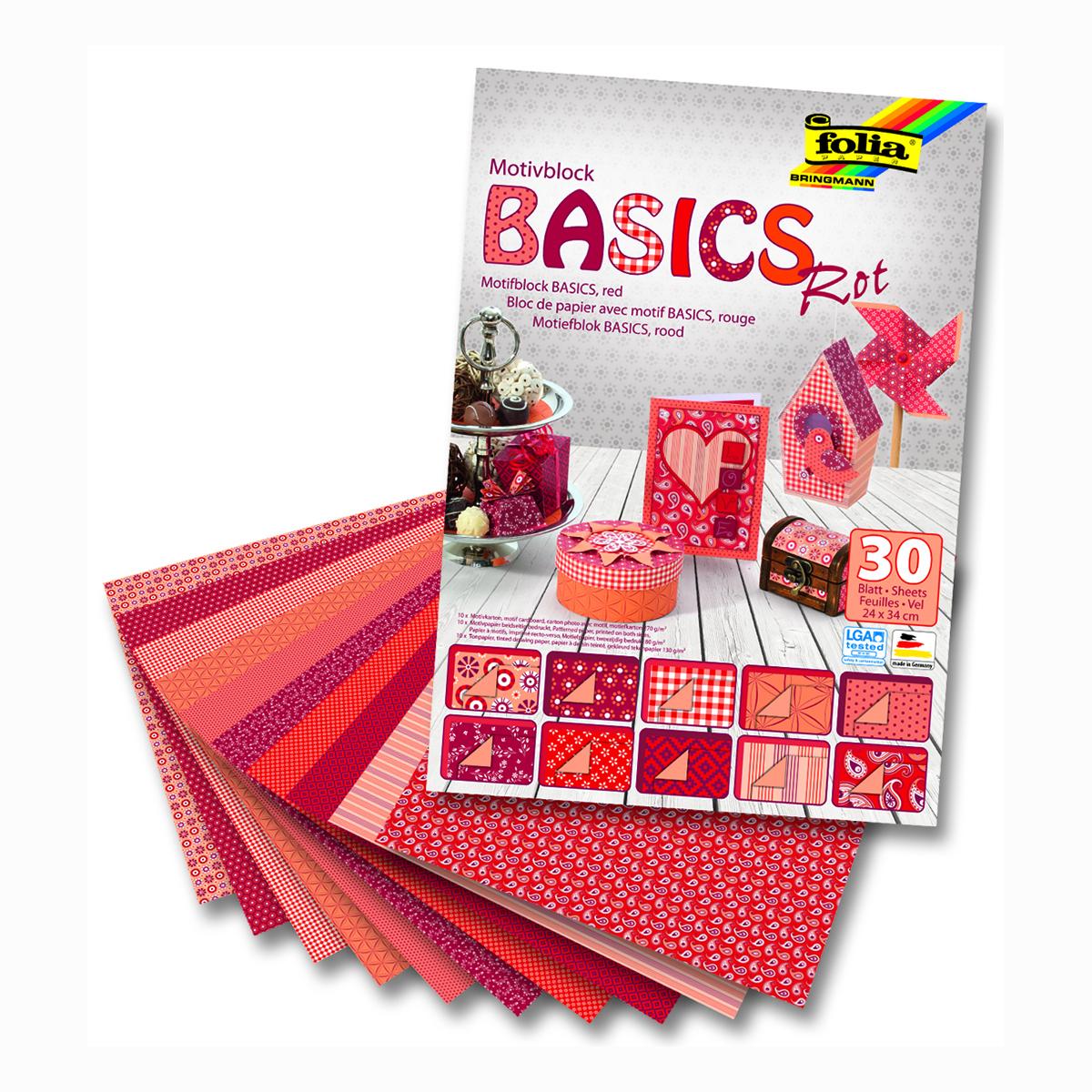 Набор дизайнерского картона Folia  Базовый , цвет: красный, 24 х 34 см, 30 листов. 7714354 -