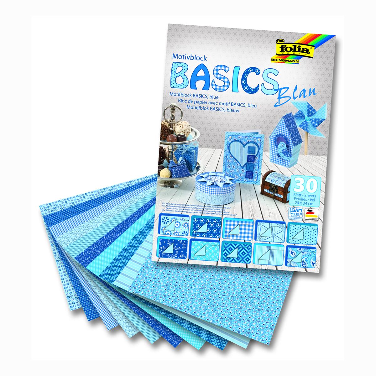 Набор дизайнерского картона Folia  Базовый , цвет: голубой, 24 х 34 см, 30 листов -