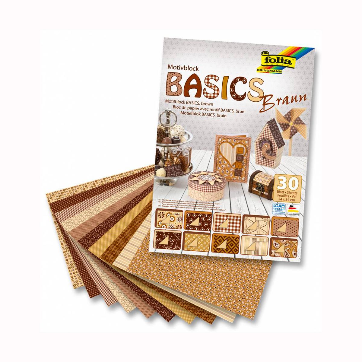 Набор дизайнерского картона Folia  Базовый , цвет: коричневый, 24 х 34 см, 30 листов -