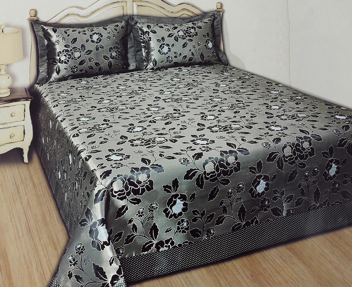 Комплект для спальни Karna Nazsu. Gul: покрывало 240 х 260 см, 2 наволочки 50 х 70 см, цвет: темно-коричневый, светло-бежевый811/3/CHAR010Изысканный комплект для спальни Karna Nazsu. Gul состоит из покрывала и двух наволочек. Изделия выполнены из высококачественного полиэстера (50%) и хлопка (50%), легкие, прочные и износостойкие. Ткань блестящая, что придает ей больше роскоши. Комплект Karna Nazsu. Gul - это отличный способ придать спальне уют и комфорт, а также позволит по-королевски украсить интерьер. Размер покрывала: 240 х 260 см.Размер наволочки: 50 х 70 см.