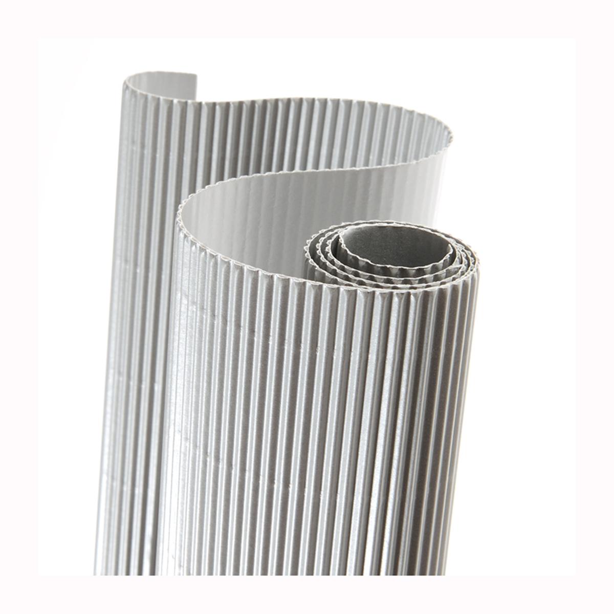 Картон гофрированный Folia, цвет: серебро, 50 х 70 см7710889_60 сереброДвухслойный гофрированный картон Folia в основном применяется для декорирования. Он состоит из одного слоя плоского картона и слоя бумаги, имеющую волнообразную (гофрированную) форму. Отличается малым весом и высокими физическими параметрами.Применение: для дизайнерских и оформительских работ, для декоративного детского творчества. Также такой материал хорошо зарекомендовал себя в качестве упаковочного материала.