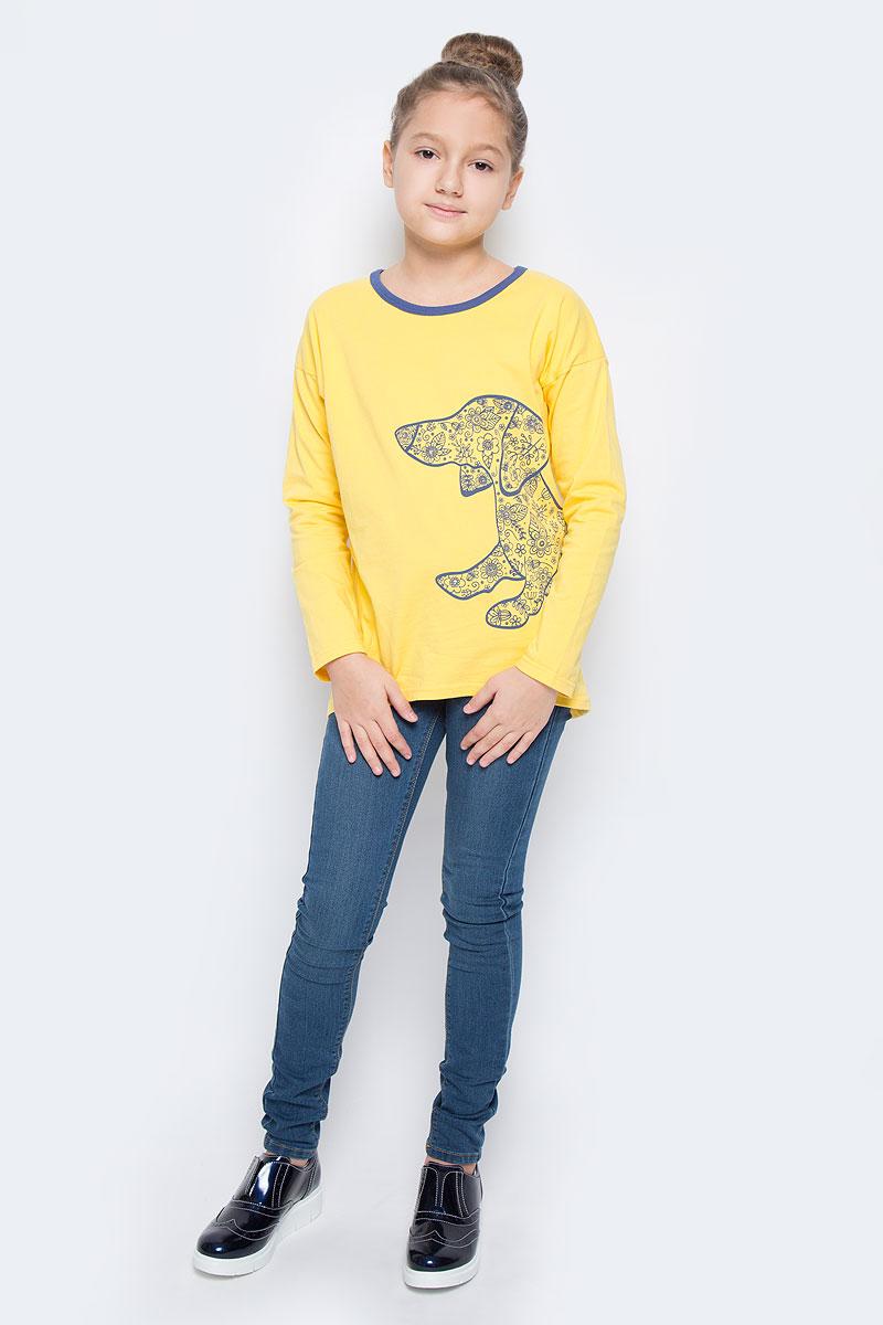 Футболка с длинным рукавом для девочки M&D, цвет: желтый. WJF260092-2. Размер 128WJF260092-2Модный лонгслив для девочки выполнен из эластичного хлопка. Модель с круглым вырезом горловины и длинными рукавами оформлена оригинальным изображением собаки, оформленной стразами.