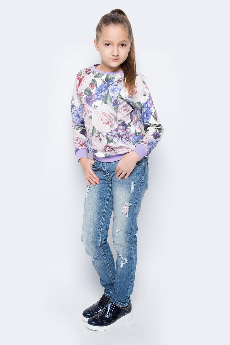 Свитшот для девочки M&D, цвет: белый, фиолетовый, лиловый. WJK26057S-77. Размер 134WJK26057S-77Стильный свитшот для девочки выполнен из хлопка и полиэстера. Модель с круглым вырезом горловины и длинными рукавами-реглан оформлена цветочным принтом. Манжеты рукавов, низ изделия и горловина дополнены трикотажными резинками.