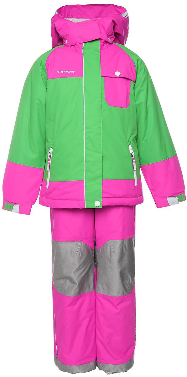 Комплект для девочки Icepeak Judy Kd: куртка, полукомбинезон, цвет: зеленый, розовый. 652104517IV. Размер 104652104517IVКомплект, изготовленный из прочного текстиля с водонепроницаемой и воздухопроницаемой мембраной Icemax 10000/2000 г/м2 /24 ч, которая защищает от ветра и влаги даже в экстремальных условиях.Полукомбинезон застегивается на молнию и пуговицу. Подкладка полукомбинезона выполнена из гладкой ткани. Изделие дополнено эластичными наплечными лямками, регулируемыми по длине. На талии по бокам предусмотрена широкая эластичная резинка. Снизу брючин предусмотрены муфты с прорезиненными полосками, препятствующие попаданию снега в обувь и не дающие брючинам задираться вверх. Изделие дополнено износостойкими вставками. Куртка с капюшоном и воротником стойкой застегивается на молнию с защитой подбородка и дополнена двойным ветрозащитным клапаном. Капюшон пристегивается при помощи кнопок. Манжеты рукавов дополнены эластичными резинками и регулируются по ширине за счет хлястиков с липучками. Спереди модель дополнена двумя прорезными карманами на застежках-молниях, на груди одним накладным карманом с клапаном на кнопке. Комплект оснащен светоотражающими элементами.