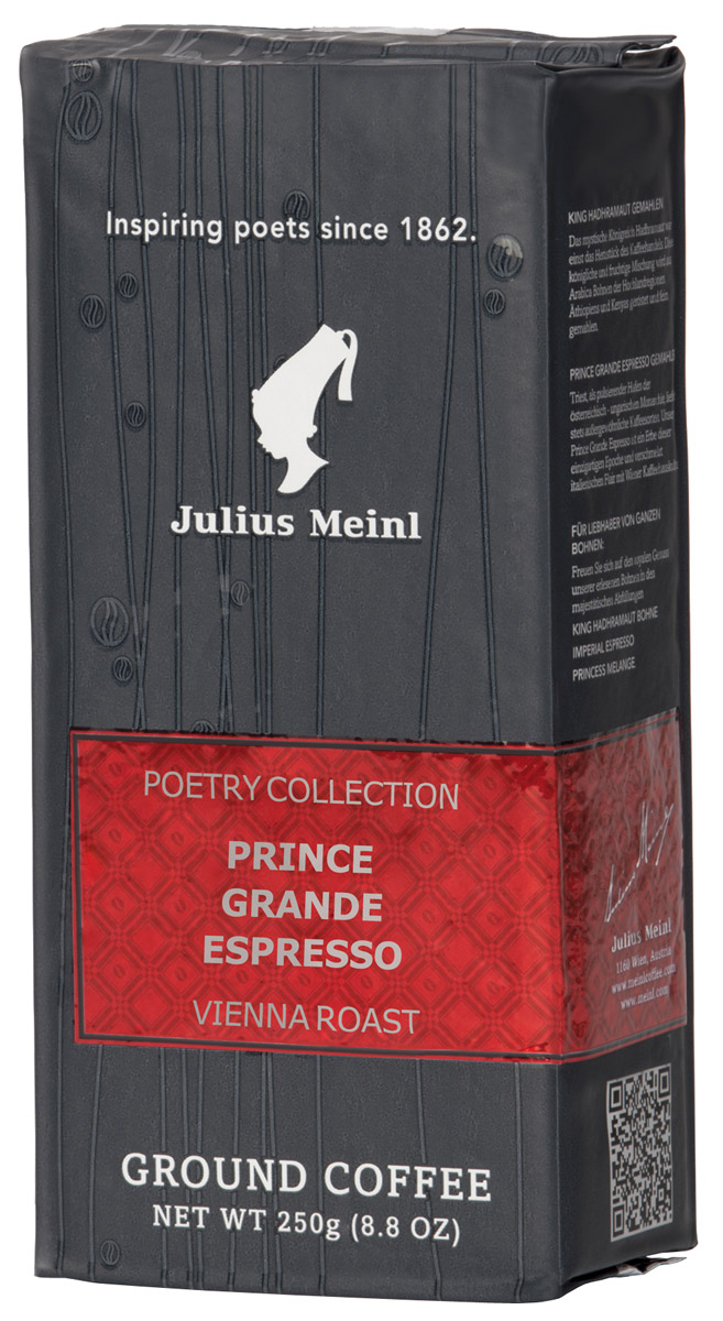 Julius Meinl Гранд Эспрессо кофе молотый, 250 г79563Молотый кофе Julius Meinl Grande Espresso представляет собой безупречно обжаренный кофе тонкого помола с крепким шоколадным ароматом. Роскошная смесь, выполненная по итальянскому рецепту из 100% арабики, предназначена для использования в домашних эспрессо-машинах. Средняя обжарка зерен придает напитку отменно сбалансированный, мягкий вкус. Из смеси получается восхитительный кофе латтэ-маккиато с нежной текстурой. Австрийский кофе фасуется в металлизированную вакуумную упаковку, гарантирующую сохранность всех вкусовых качеств.