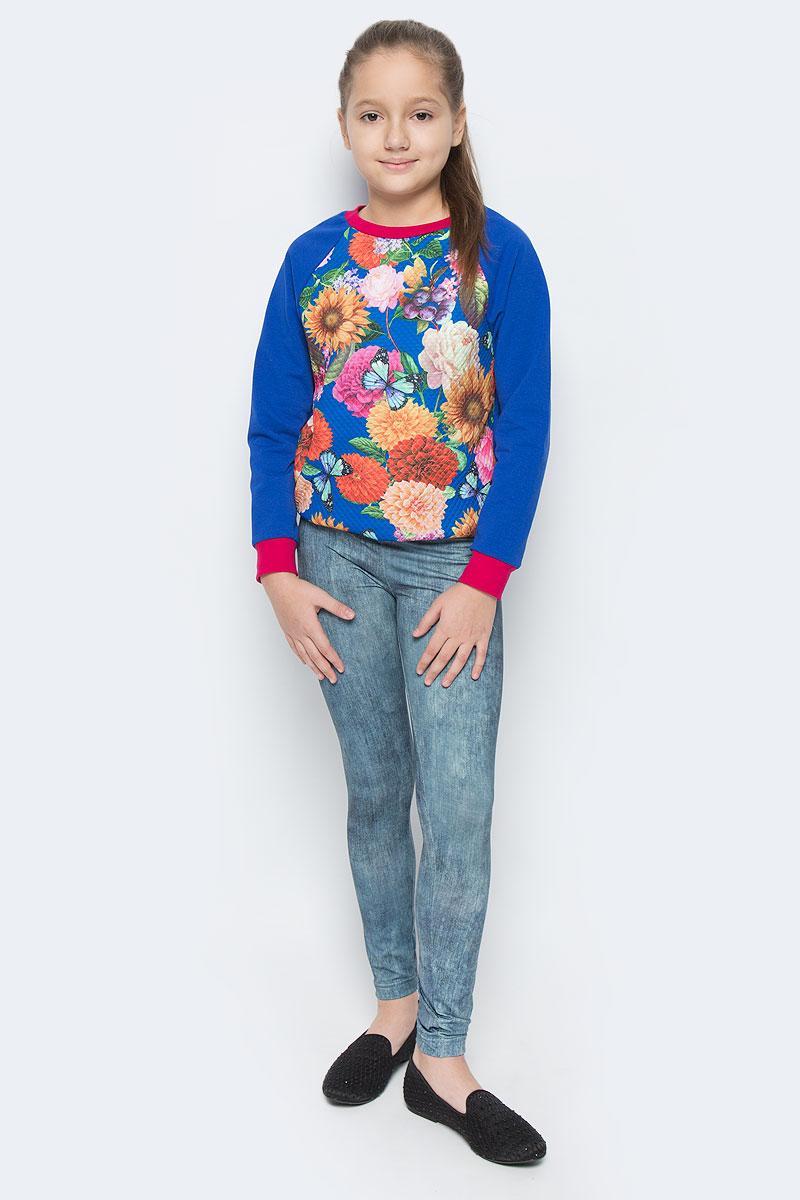Лосины для девочки M&D, цвет: синий, бежевый, серый. SSL263M20-11. Размер 170 лосины для девочки m&d цвет бирюза мультиколор м33228 размер 116