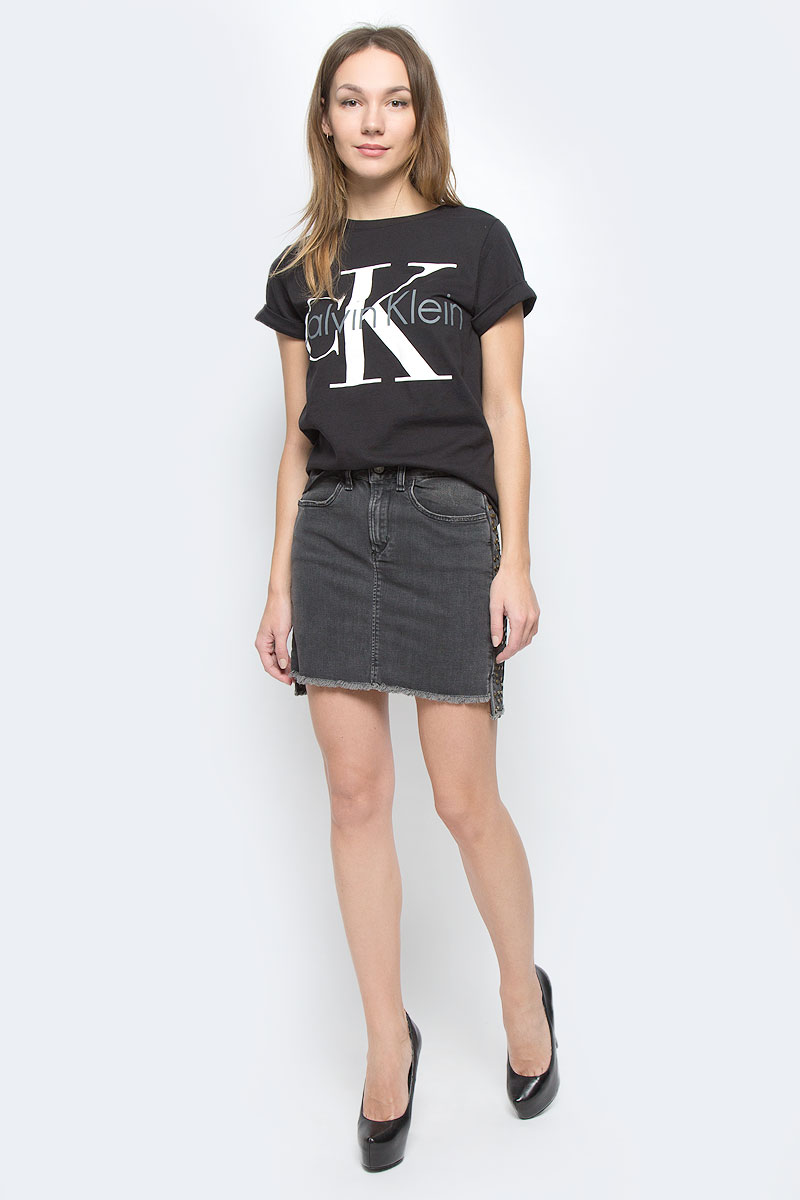Футболка женская Calvin Klein Underwear, цвет: черный. QS5557E_001. Размер S (42) трусы calvin klein underwear calvin klein underwear ca994ewrgc91
