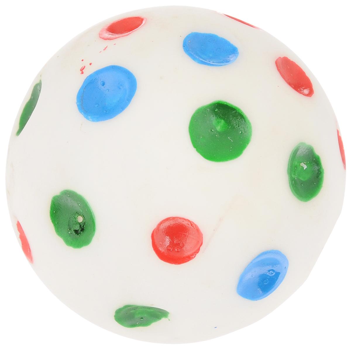 Игрушка для животных Каскад Мяч. Луна, с пищалкой, цвет: белый, красный, синий, диаметр 6 см игрушка для животных каскад мячик пробковый диаметр 3 5 см
