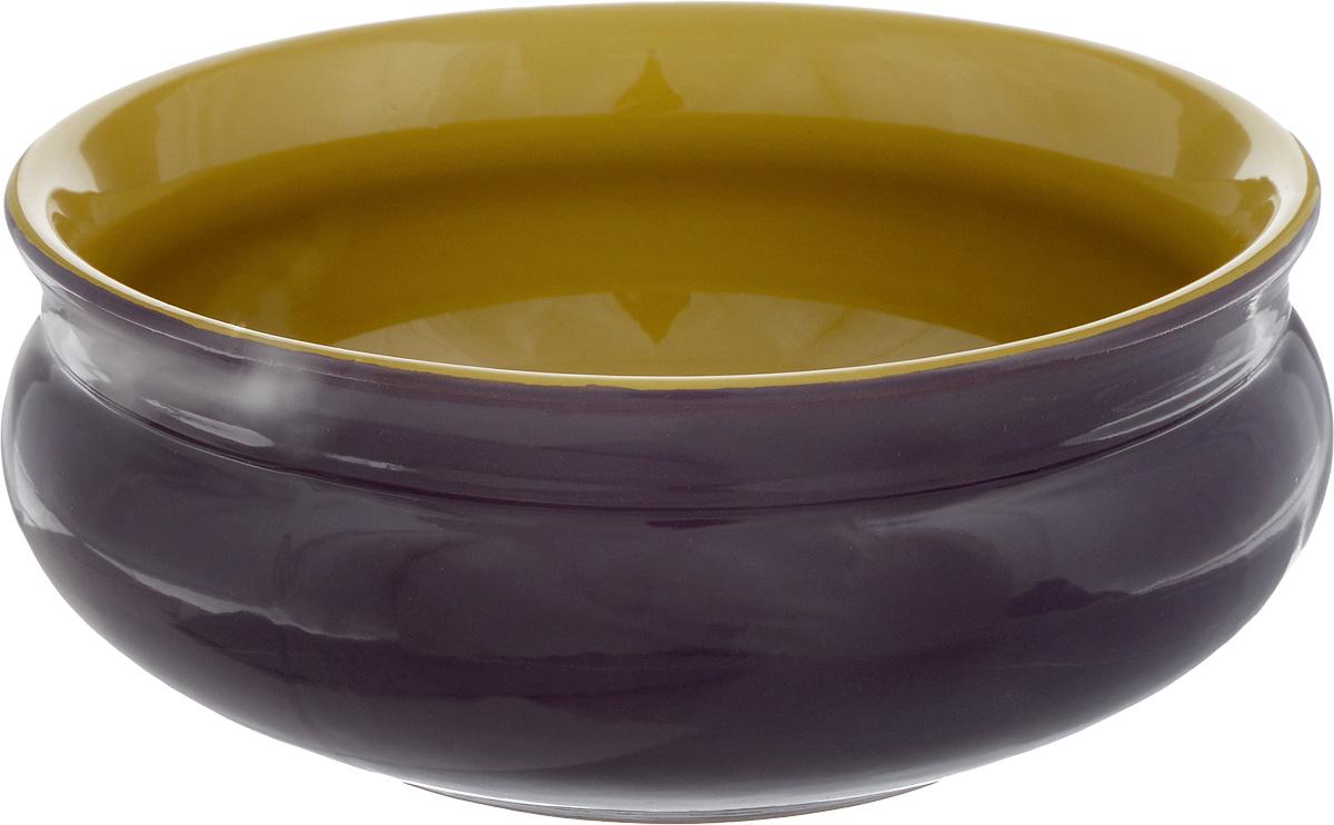 Тарелка глубокая Борисовская керамика Скифская, цвет: фиолетовый, горчичный, 800 млРАД14457937_фиолетовыйГлубокая тарелка Борисовская керамика Скифская выполнена из высококачественной керамики. Изделие сочетает в себе изысканный дизайн с максимальной функциональностью. Она прекрасно впишется в интерьер вашей кухни и станет достойным дополнением к кухонному инвентарю. Тарелка Борисовская керамика Скифская подчеркнет прекрасный вкус хозяйки и станет отличным подарком. Можно использовать в духовке и микроволновой печи.Диаметр тарелки (по верхнему краю): 16 см.Объем: 800 мл.