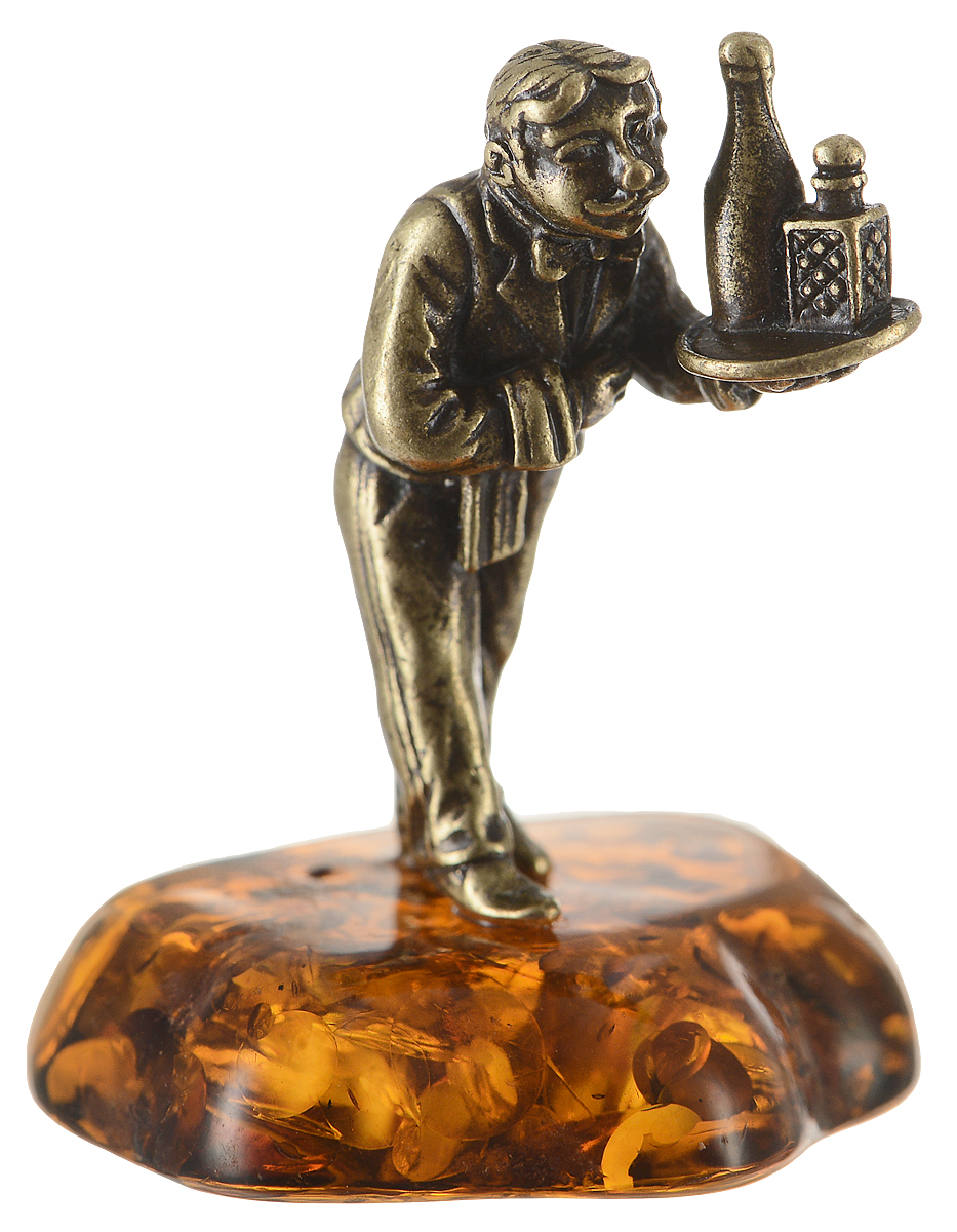 Фигурка декоративная Гифтман Официант, материал: латунь, искусственный янтарь. Ручная работа. 53394