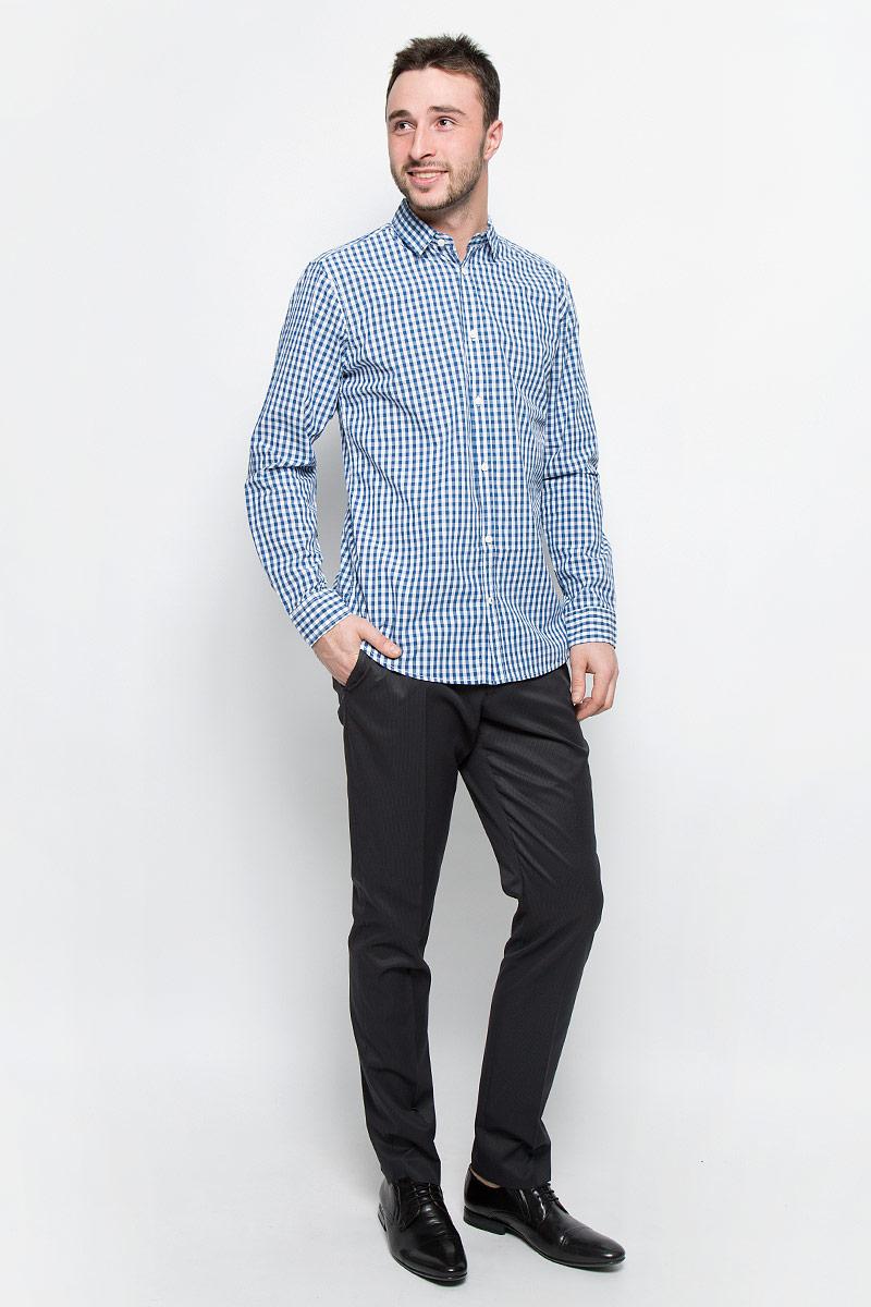 Рубашка мужская Top Secret, цвет: синий. SKL2116BI. Размер 46 (54)SKL2116BIСтильная мужская рубашка Top Secret, изготовленная из высококачественного хлопка. Модная рубашка свободного кроя с отложным воротником, длинными рукавами и полукруглым низом застегивается на пластиковые пуговицы. Длинные рукава дополнены манжетами на пуговицах.