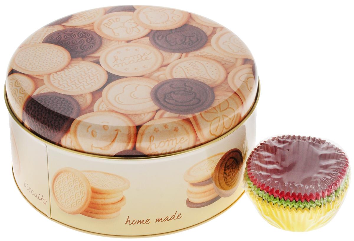 """Контейнер для печенья Tescoma """"Delicia"""" прекрасно  подойдет для хранения домашнего печенья, а так же подходит  в качестве подарочной упаковки для сладкого подарка. Контейнер легко вмещает в себя до 60 шт домашнего печенья,  а благодаря красивому дизайну, может использоваться в  качестве подарочной коробки для вашего вкусного подарка.   Контейнер мало весит, легко открывается и закрывается.  Диаметр контейнера (по верхнему краю): 19,5 см."""