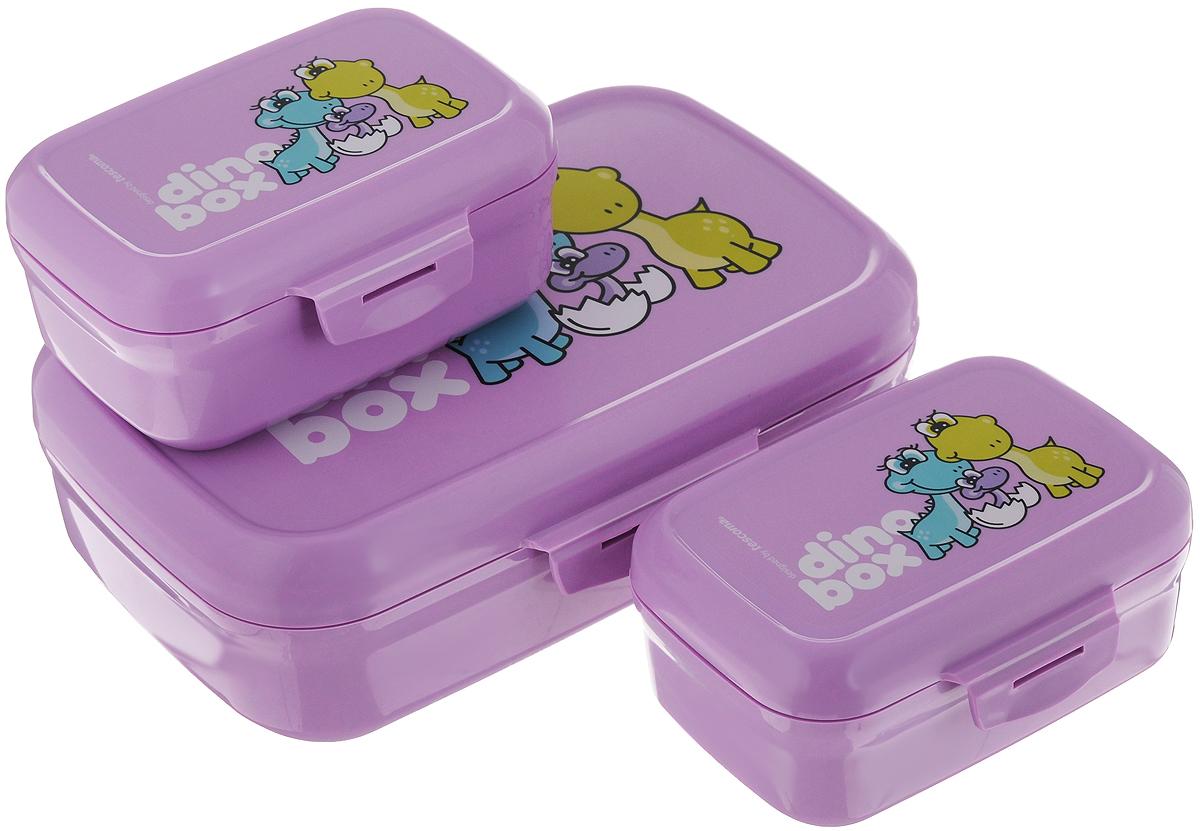 Набор контейнеров Tescoma Dino, цвет: фиолетовый, 3 шт668330.23Если вы сторонники здорового образа жизни, тогда вы по достоинству оцените новые контейнеры Tescoma Dino. Они сделаны из сертифицированного материала, легкие и удобные в использовании, а также выполнены в веселом дизайне, который обязательно оценят дети.Это три емкости предназначены для упаковки и дальнейшей переноске закусок и легких обедов в школу, в поездку, на тренировку. Самая большая емкость может быть использована для основного приема пищи, а маленькие баночки для фруктов, овощей и различных салатов. Материал, из которых изготовлены пластиковые емкости Tescoma Dino, прошли через десятки строгих тестов и гарантированно не содержат опасные и вредные вещества.Две небольших емкости легко помещаются в самую большую, что экономит пространство в портфеле вашего ребенка или в домашних условиях. На контейнерах выполнена качественная печать изображения динозавров, которая отлично сохраняется даже во время интенсивной мойки посуды.Размер большого контейнера: 20 х 13 х 6,5 см.Размер одного малого контейнера: 12 х 8,5 х 6 см.