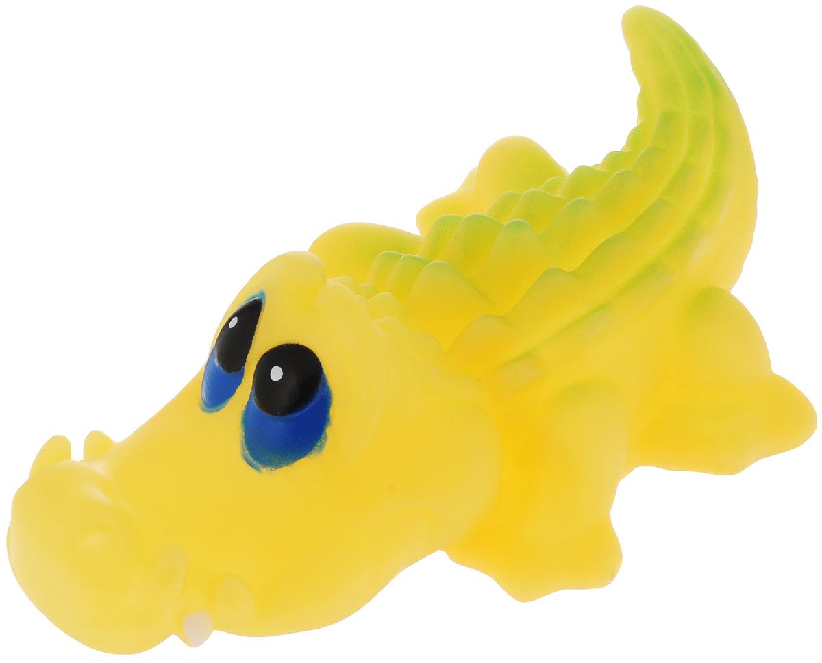Игрушка для собак Каскад Крокодил, цвет: желтый, длина 15 см игрушка для животных каскад барабан с колокольчиком 4 х 4 х 4 см