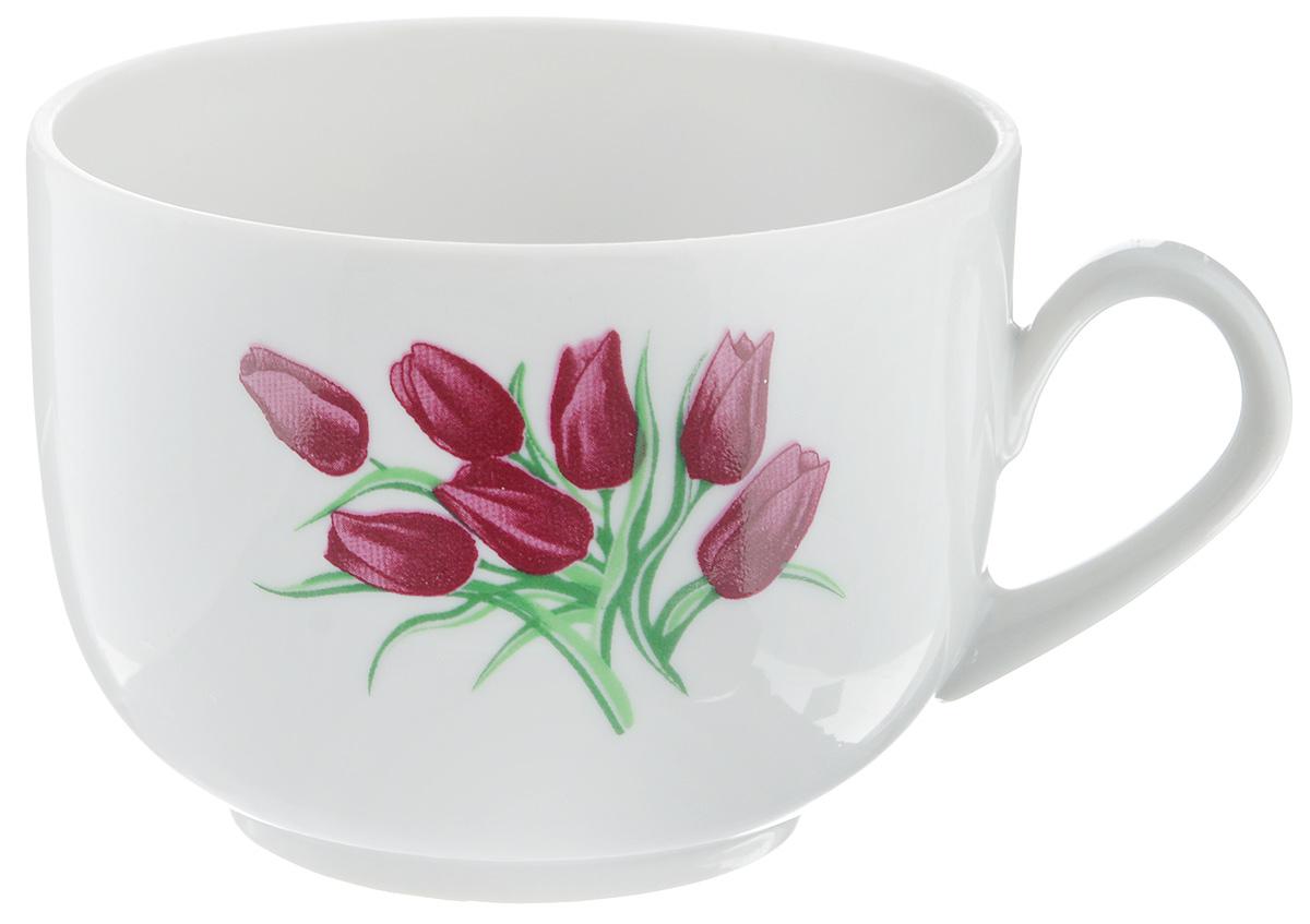 Чашка чайная Фарфор Вербилок Тюльпаны, 250 мл кружка фарфор вербилок знаки зодиака 250 мл
