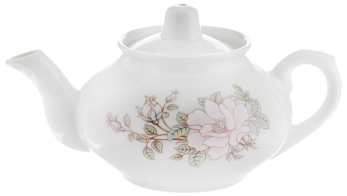 Чайник заварочный Фарфор Вербилок Контесса, 350 мл1430610Для того чтобы насладиться чайной церемонией, требуется не только знание ритуала и чай высшего сорта. Необходим прекрасный заварочный чайник, который может быть как центральной фигурой фарфорового сервиза, так и самостоятельным, отдельным предметом. От его формы и качества фарфора зависит аромат и вкус приготовленного напитка. Именно такие предметы формируют в доме атмосферу истинного уюта, тепла и гармонии. С заварочным чайником Фарфор Вербилок Контесса вы сможете ощутить более богатый, ароматный вкус чая или кофе. Изделие выполнено из высококачественного фарфора и украшено цветочным рисунком.Диаметр чайника по верхнему краю: 6 см. Диаметр основания чайника: 6,5 см. Высота чайника (без учета крышки): 7,5 см.