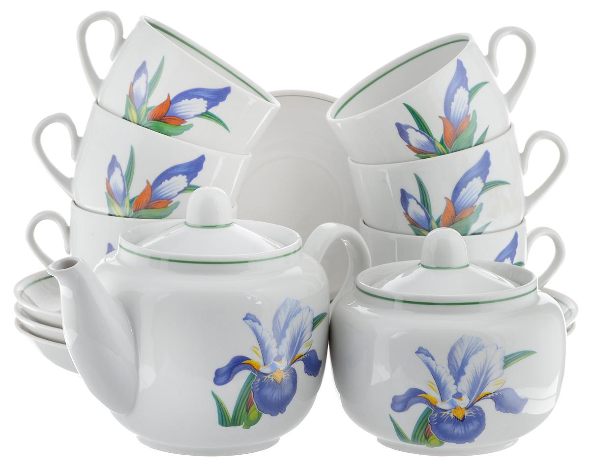 Сервиз чайный Фарфор Вербилок Август. Вернисаж, 14 предметов4570650Чайный сервиз Фарфор Вербилок Август. Вернисаж состоит из 6 чашек, 6 блюдец, сахарницы и заварочного чайника. Изделия выполнены из высококачественного фарфора и оформлены цветочным рисунком. Изящный чайный сервиз прекрасно оформит стол к чаепитию и порадует вас элегантным дизайном и качеством исполнения.Объем чайника: 600 мл.Высота чайника (без учета крышки): 10,5 см.Диаметр чайника (по верхнему краю): 6,5 см.Высота сахарницы (без учета крышки): 8,5 см.Диаметр сахарницы (по верхнему краю): 6,5 см.Объем сахарницы: 500 мл.Объем чашки: 300 мл.Диаметр чашки (по верхнему краю): 8,5 см.Высота чашки: 6 см.Диаметр блюдца: 14 см.Высота блюдца: 2,3 см.
