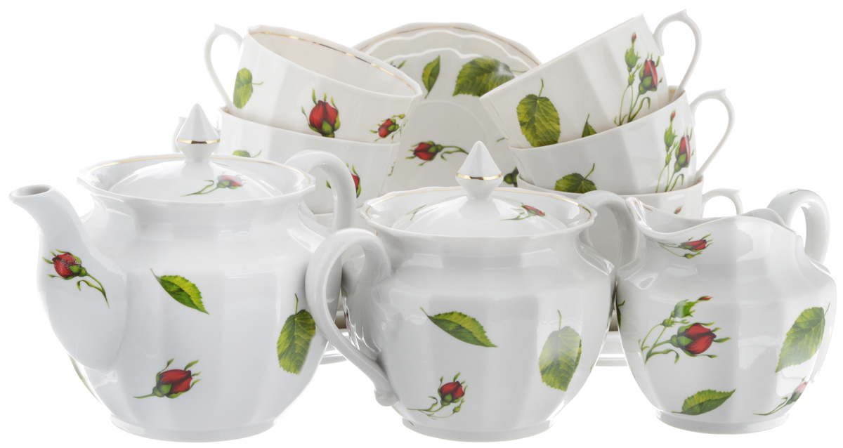Сервиз чайный Фарфор Вербилок Кузнецовский. Бутоны раскидные, 15 предметов26331050Чайный сервиз Фарфор Вербилок Кузнецовский. Бутоны раскидные состоит из 6 чашек, 6 блюдец, молочника, сахарницы и заварочного чайника. Изделия выполнены из высококачественного фарфора и оформлены цветочным рисунком. Изящный чайный сервиз прекрасно оформит стол к чаепитию и порадует вас элегантным дизайном и качеством исполнения.Объем чайника: 850 мл.Высота чайника (без учета крышки): 12,5 см.Диаметр чайника (по верхнему краю): 6 см.Высота сахарницы (без учета крышки): 11 см.Диаметр сахарницы (по верхнему краю): 6 см.Объем сахарницы: 600 мл.Объем сливочника: 400 мл.Высота сливочника: 9,5 см.Размер сливочника (по верхнему краю): 10 х 7,5 см.Объем чашки: 350 мл.Диаметр чашки (по верхнему краю): 8 см.Высота чашки: 8,5 см.Диаметр блюдца: 14,5 см.Высота блюдца: 2 см.