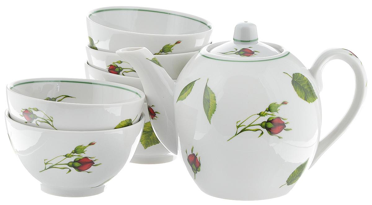 Набор чайный Фарфор Вербилок Бутоны раскидные, 7 предметов21651050Чайный набор Фарфор Вербилок Бутоны раскидные состоит из 6 пиал и заварочного чайника. Изделия выполнены из высококачественного фарфора и оформлены цветочным рисунком. Изящный чайный набор прекрасно оформит стол к чаепитию и порадует вас элегантным дизайном и качеством исполнения.Объем чайника: 800 мл.Высота чайника (без учета крышки): 12 см.Диаметр чайника (по верхнему краю): 4,5 см.Объем пиалы: 300 мл.Диаметр пиалы (по верхнему краю): 10,7 см.Высота пиалы: 6 см.