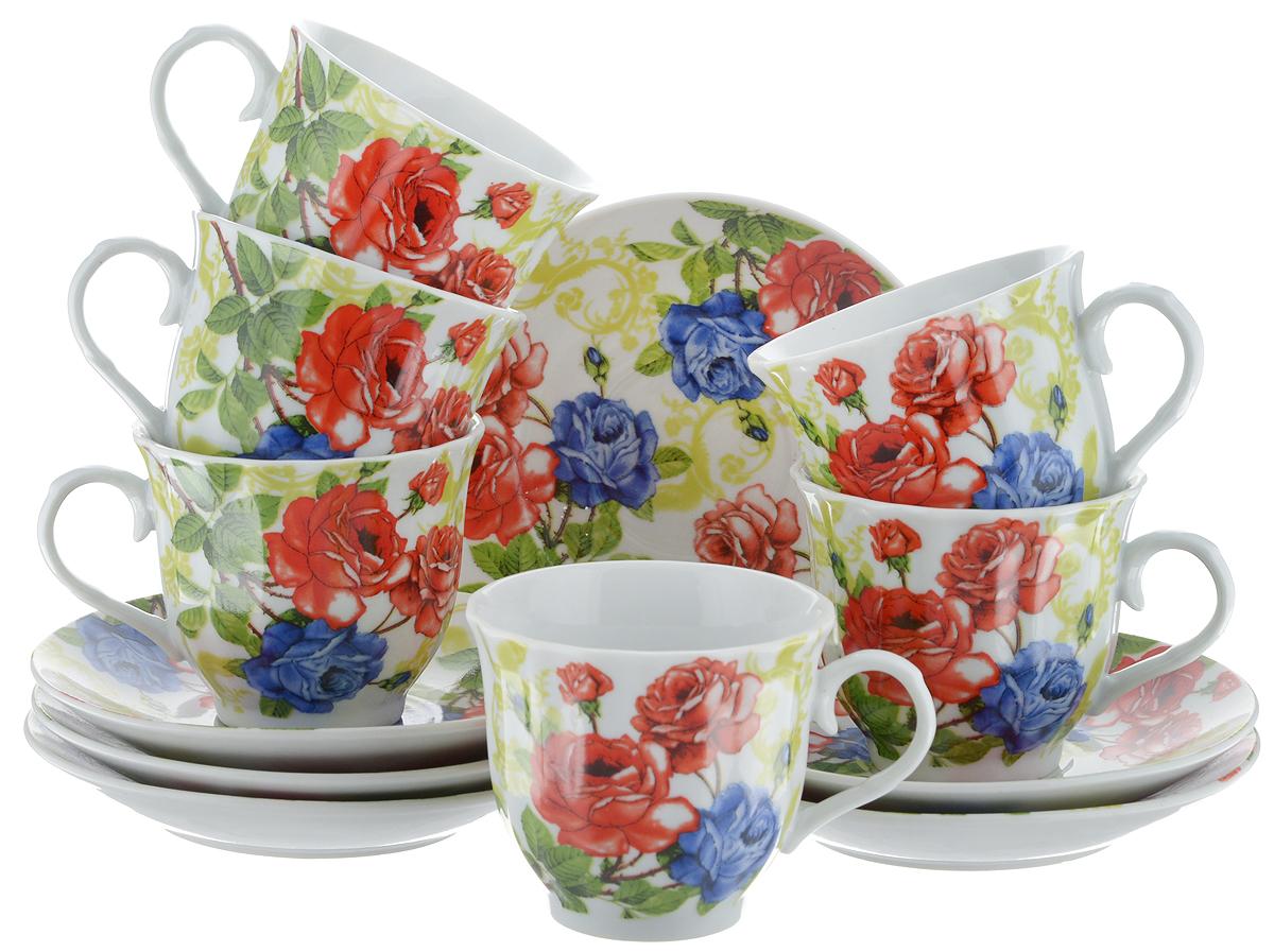 Набор чайный Bella, 12 предметов. DL-RF6-173DL-RF6-173Чайный набор Bella состоит из 6 чашек и 6 блюдец, изготовленных из высококачественного фарфора. Такой набор прекрасно дополнит сервировку стола к чаепитию, а также станет замечательным подарком для ваших друзей и близких. Объем чашки: 220 мл. Диаметр чашки (по верхнему краю): 8 см. Высота чашки: 7 см. Диаметр блюдца: 14 см.Высота блюдца: 2 см.