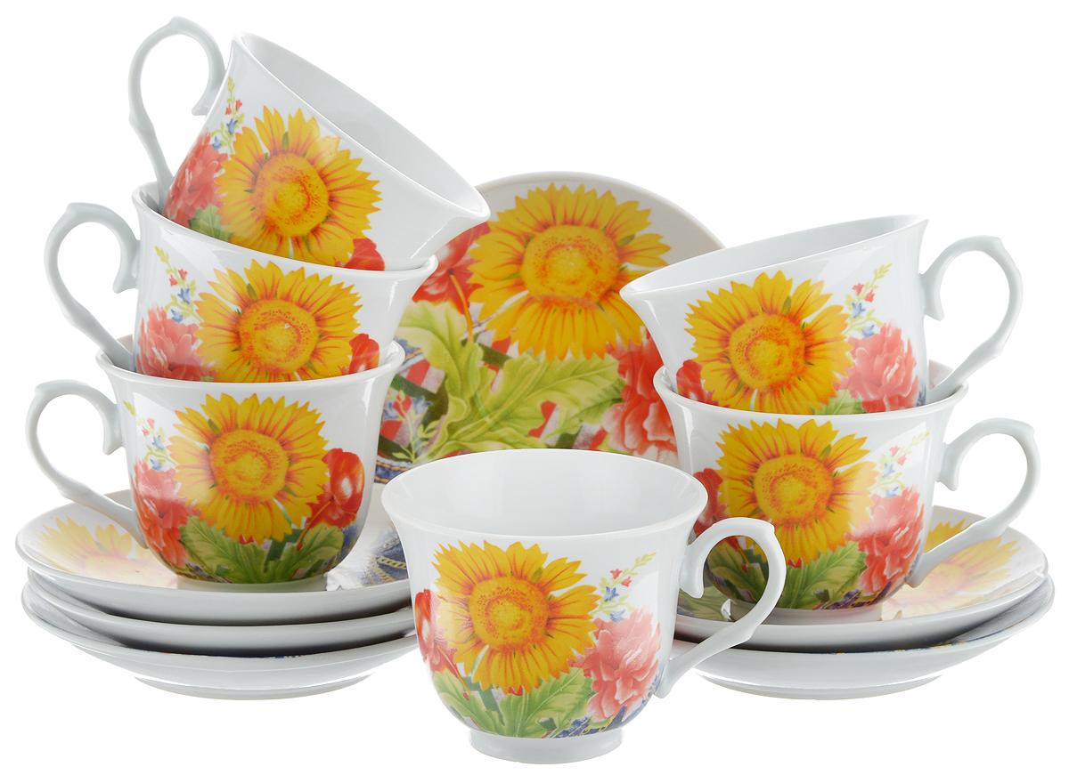 Набор чайный Bella, 12 предметов. DL-RP6-155DL-RP6-155Чайный набор Bella состоит из 6 чашек и 6 блюдец, изготовленных из высококачественного фарфора. Такой набор прекрасно дополнит сервировку стола к чаепитию, а также станет замечательным подарком для ваших друзей и близких. Объем чашки: 220 мл. Диаметр чашки (по верхнему краю): 8 см. Высота чашки: 7 см. Диаметр блюдца: 14 см.Высота блюдца: 2 см.
