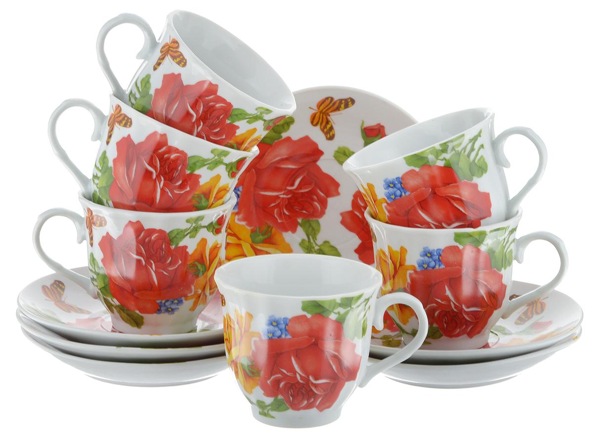 Набор чайный Bella, 12 предметов. DL-RF6-176DL-RF6-176Чайный набор Bella состоит из 6 чашек и 6 блюдец, изготовленных из высококачественного фарфора. Такой набор прекрасно дополнит сервировку стола к чаепитию, а также станет замечательным подарком для ваших друзей и близких. Объем чашки: 220 мл. Диаметр чашки (по верхнему краю): 8 см. Высота чашки: 7 см. Диаметр блюдца: 14 см.Высота блюдца: 2 см.
