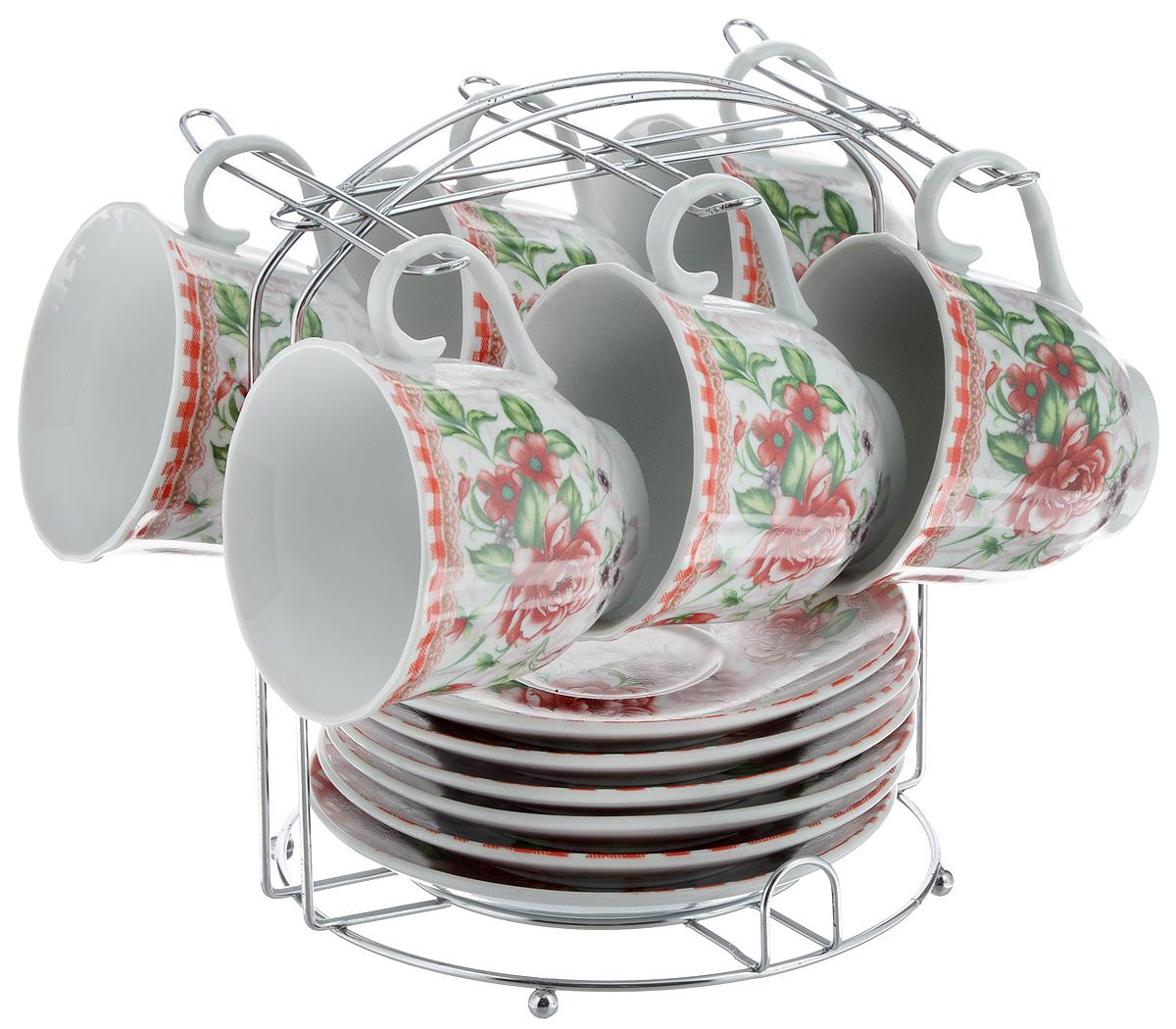 Набор чайный Bella, 13 предметов. DL-F6MS-192DL-F6MS-192Набор Bella состоит из 6 чашек и 6 блюдец, изготовленных из высококачественного фарфора. Чашки оформлены красочным рисунком. Изделия расположены на металлической подставке. Такой набор подходит для подачи чая или кофе.Изящный дизайн придется по вкусу и ценителям классики, и тем, кто предпочитает современный стиль. Он настроит на позитивный лад и подарит хорошее настроение с самого утра. Чайный набор Bella - идеальный и необходимый подарок для вашего дома и для ваших друзей в праздники.Объем чашки: 220 мл. Диаметр чашки (по верхнему краю): 8 см. Высота чашки: 7 см. Диаметр блюдца: 14 см. Высота блюдца: 2,3 см.Размер подставки: 17 х 16,5 х 19 см.