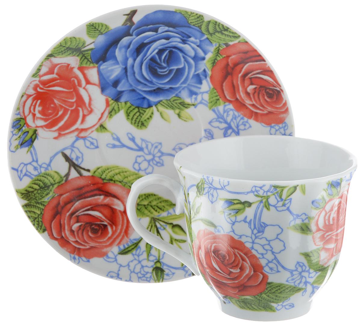 """Чайная пара """"Bella"""" состоит из чашки и блюдца, изготовленных из высококачественного фарфора. Оригинальный яркий дизайн, несомненно, придется вам по вкусу. Чайная пара """"Bella"""" украсит ваш кухонный стол, а также станет замечательным подарком к любому празднику. Диаметр чашки (по верхнему краю): 8,5 см. Высота чашки: 7 см. Объем чашки: 220 мл. Диаметр блюдца: 14 см."""