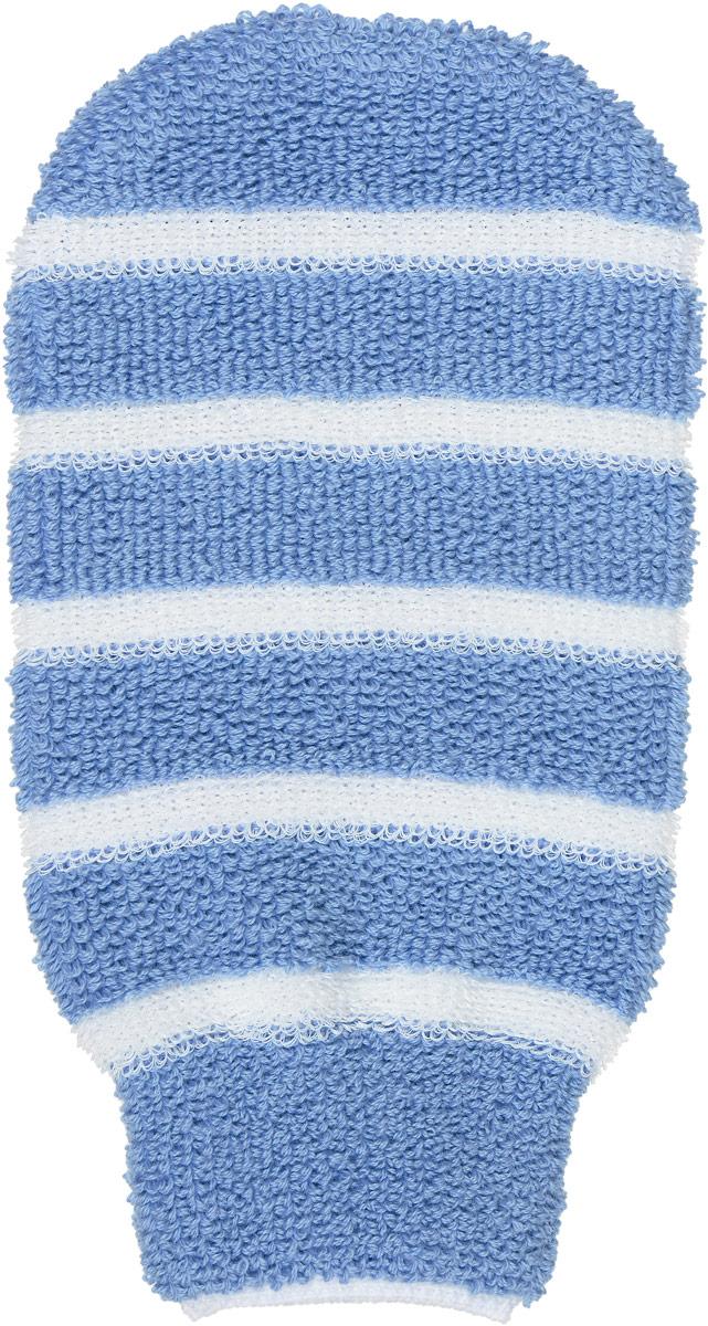 Мочалка-рукавица Riffi, с массажными полосками, цвет: голубой406_голубой