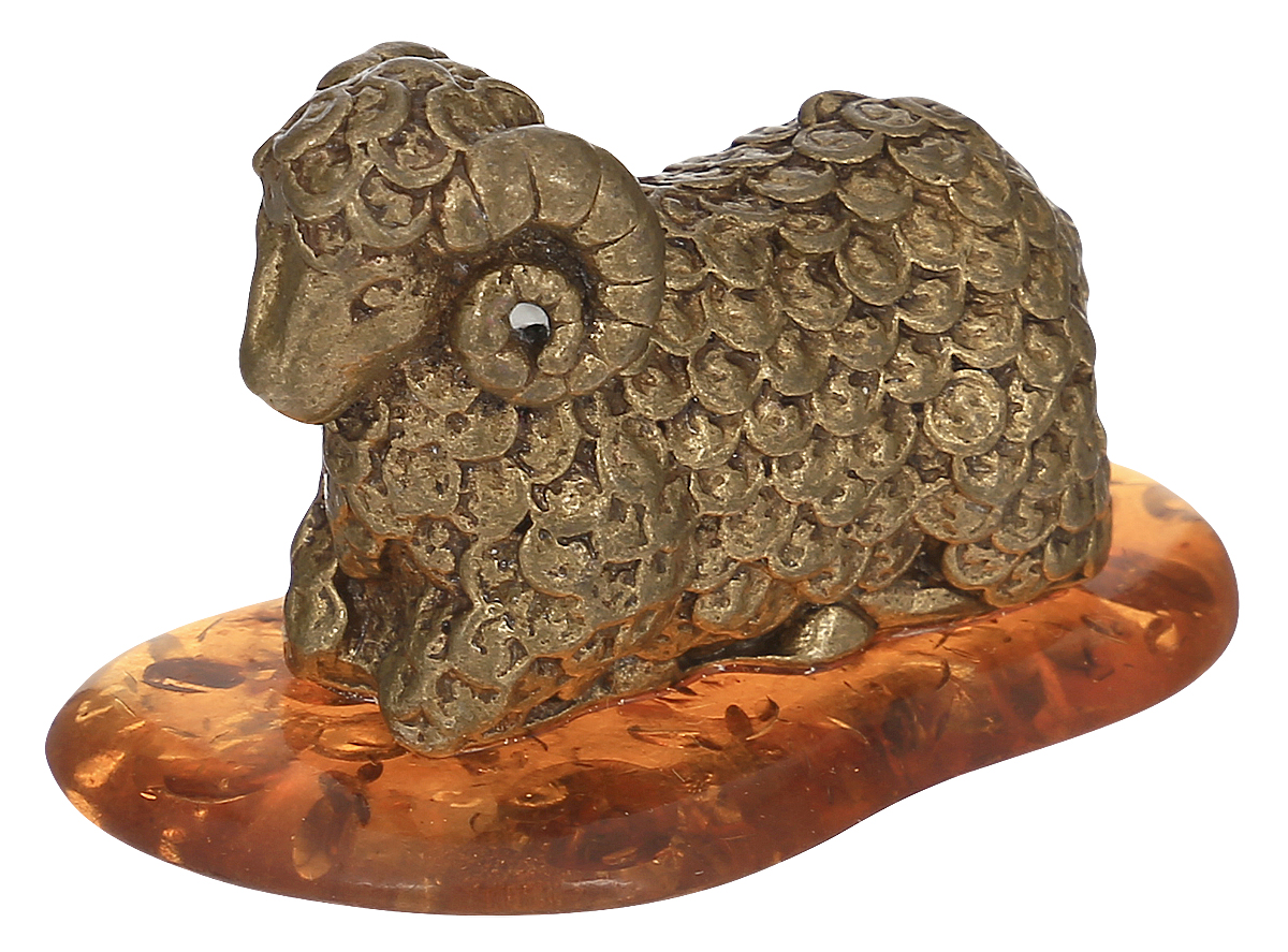 Фигурка декоративная Гифтман Баран. Денежный, материал: латунь, искусственный янтарь. Ручная работа. 53305 цепь декоративная 3 6мм шариковая латунь полированная