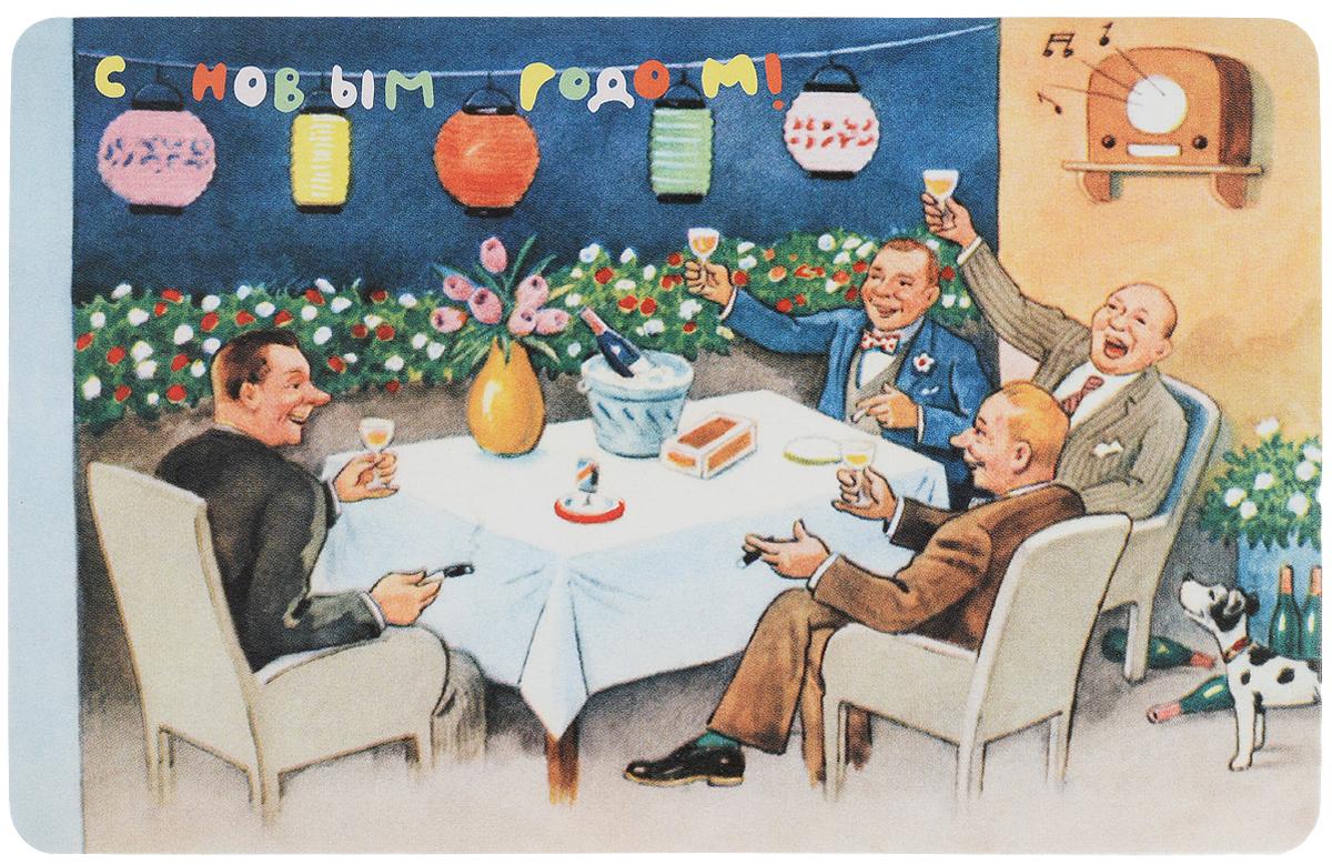 Открытка поздравительная в винтажном стиле Новый год. №334ОТКР №334Оригинальная поздравительная открытка Новый год выполнена из плотного картона. На лицевой стороне расположено красочное изображение мужчин за столом, которые отмечают праздник. Обратная сторона открытки имеет место для марки и свободное пространство, на ней вы сможете написать собственное послание. Необычная и яркая открытка в винтажном стиле поможет вам выразить чувства и передать теплые поздравления.Такая открытка станет великолепным дополнением к подарку или оригинальным почтовым посланием, которое, несомненно, удивит получателя своим дизайном и подарит приятные воспоминания.