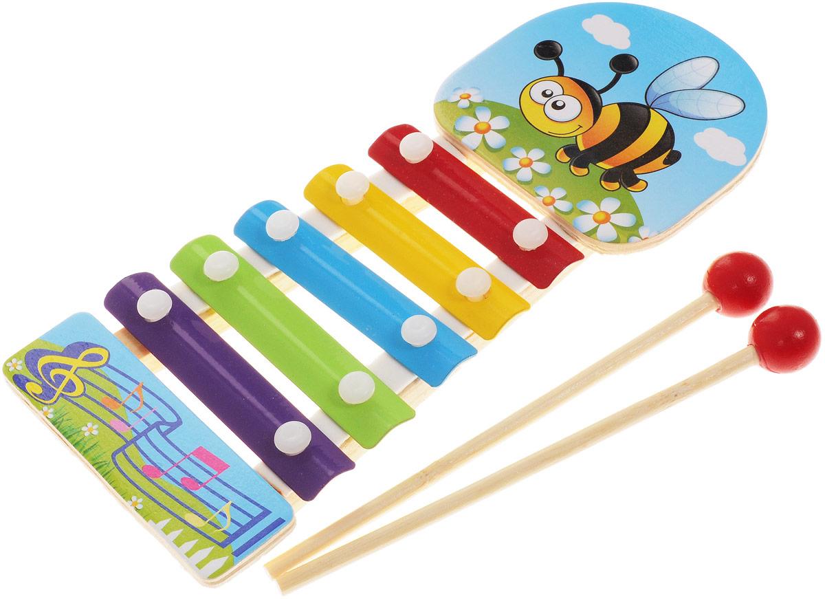 ABtoys Ксилофон Пчела abtoys игрушечный музыкальный руль цвет черный желтый красный