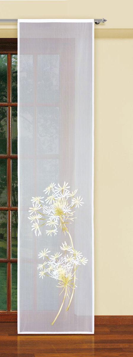 Гардина-панно Haft, на кулиске, цвет: белый, высота 250 см. 5934059340/60Оригинальная гардина-панно Haft, выполненная из полиэстера, великолепно украсит любое окно. Изделие украшено изображением цветов и органично впишется в интерьер помещения.Комплект крепится на карниз при помощи кулиски.