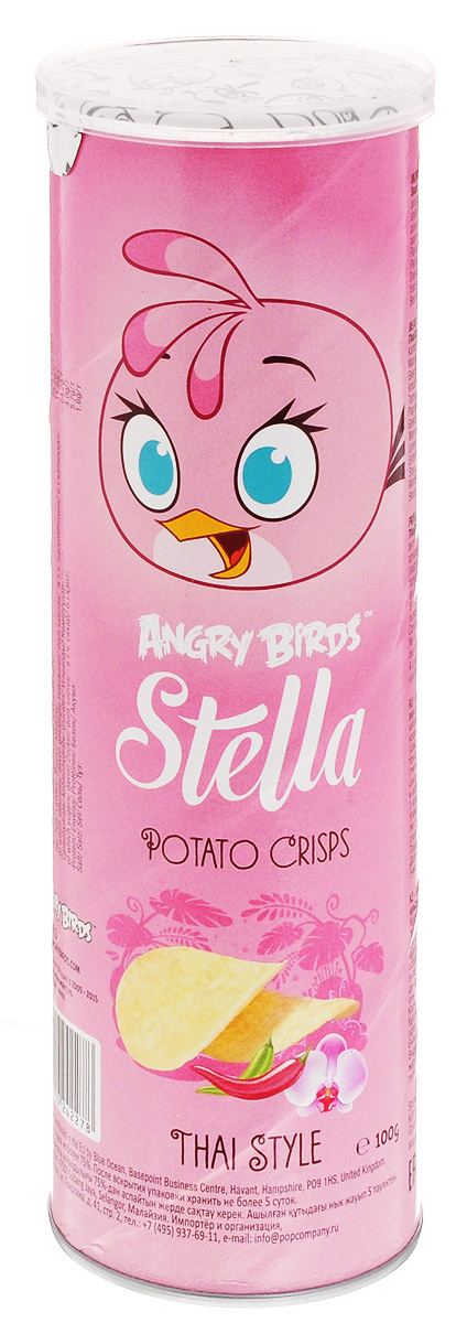 Angry Birds чипсы с тайским вкусом, 100 г7640110242278Хрустящая картофельная закуска Angry Birds с ярким вкусом чеснока, тмина и паприки составит компанию любимому фильму или пиву! Возьмите с собой на пикник, в дорогу или в кинотеатр. Благодаря удобной тубе они не сломаются и не рассыплются. Рекомендуется подавать с кисло-сладкими и острыми томатными соусами или к карри.Уважаемые клиенты! Обращаем ваше внимание на возможные изменения в дизайне упаковки. Качественные характеристики товара остаются неизменными. Поставка осуществляется в зависимости от наличия на складе.