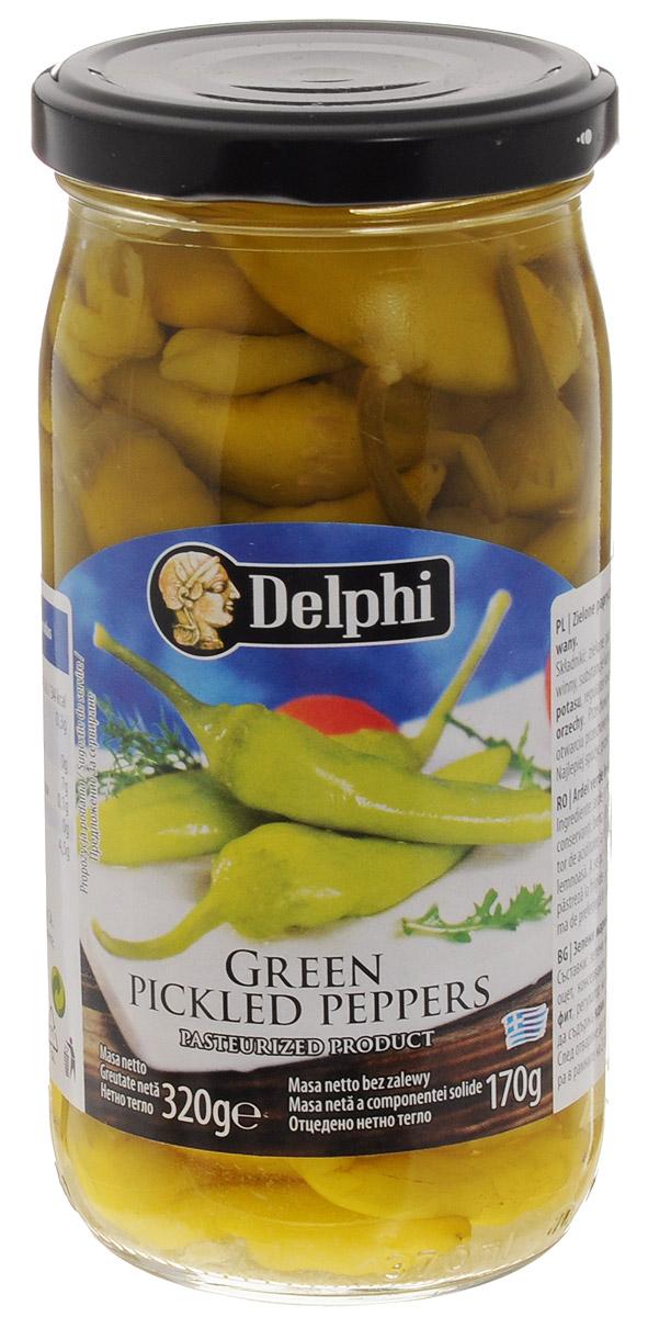 Delphi Перец зеленый маринованный, 320 г42.0023,1Греческий зеленый перец в рассоле Delphi. Маринованный традиционным способом с добавлением морской соли и винного уксуса.